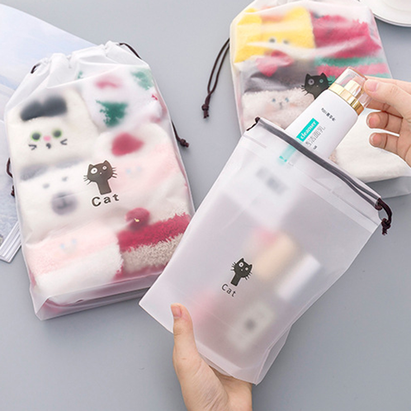 3PCS Cat Waterproof Cosmetic Box Women Travel Case Zipper