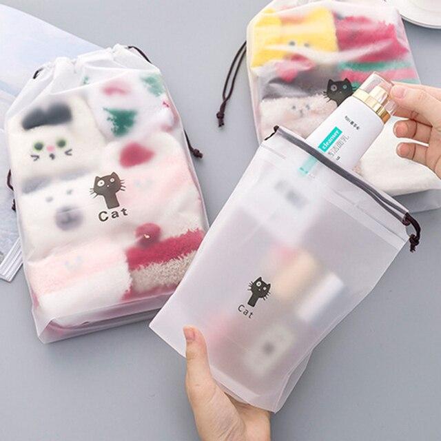 3 ADET Kedi Su Geçirmez Kozmetik Kutusu Kadın Seyahat makyaj çantası Fermuar Makyaj Banyo Organizatör çanta Tuvalet Yıkama güzellik kiti