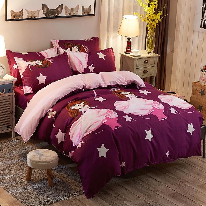 NEW 4pcs Set Flat Sheet Pillowcase Duvet cover Pastoral Bird Print Bedding King Queen Double Full Twin size Bedlinen 100% Cotton