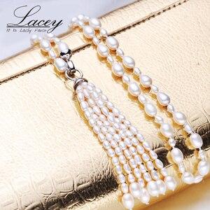 Image 3 - Collar largo multicapa de perlas para mujer, gargantilla de perlas de agua dulce, borla, mezcla de colores, joyería