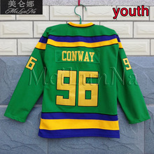 b04c53724 MeiLunNa Youth Kids Mighty Ducks Movie Jerseys #96 Charlie Conway Jersey  9606 Blank Green(