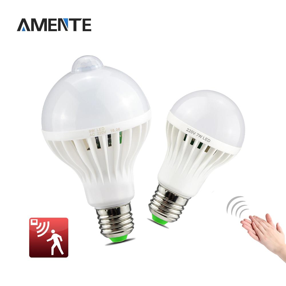 Led smart night lamp - 1pcs E27 220v 3w 5w 7w 12w Sound Voice Sensor Led Bulb Pir Motion Induction Lighting Smart Lamp Night Light
