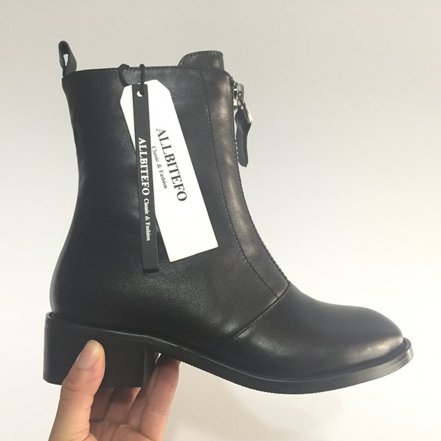 ALLBITEFO Casual Zipper Ankle Boots Genuine Leather Round Toe Martin Boots