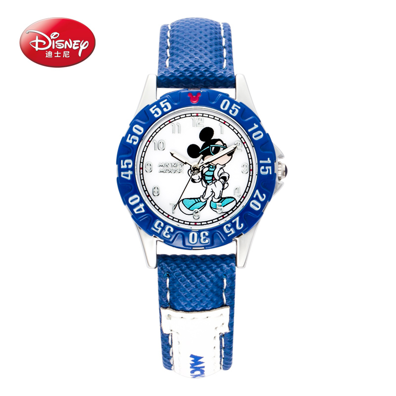 100 Disney children pretty Mickey mouse cartoon lovely watch Best fashion casual simple quartz round leather