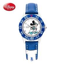 100% Disney niños pretty Mickey mouse de la historieta reloj encantador Mejor moda casual simple ronda de cuarzo relojes de cuero Del Muchacho