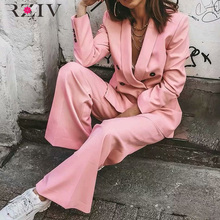 RZIV women blazer jackt pink color double-breasted suit leis