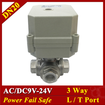 """Tsai Fan 3 Way L Port T Port BSP/NPT 3/4"""" DN20 Stainless Steel Power Off Safe Valve AC/DC9-24V 2/5 Wires Electric Water Valve"""