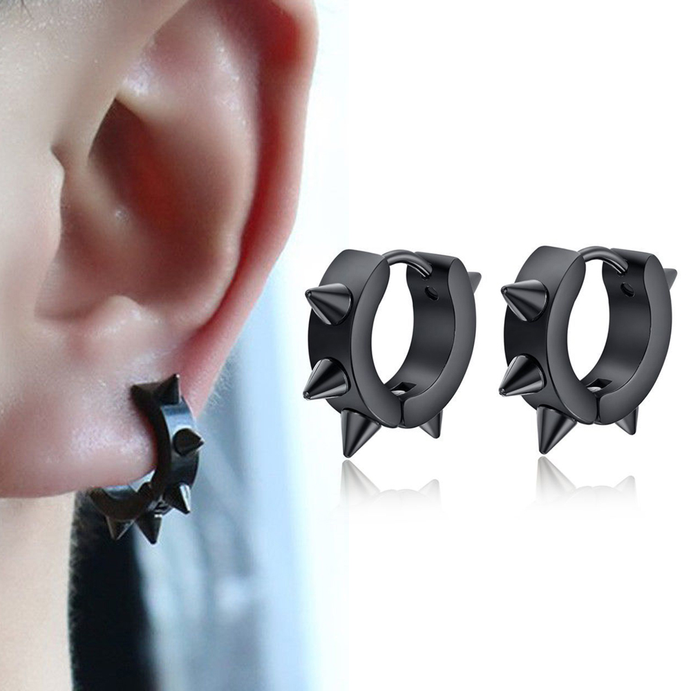 Black Punk Women Men Earrings Ear Studs Spike Rivet Hoop Huggie Gothic Black Stainless Steel Earring Jewelry Gifts Accessories