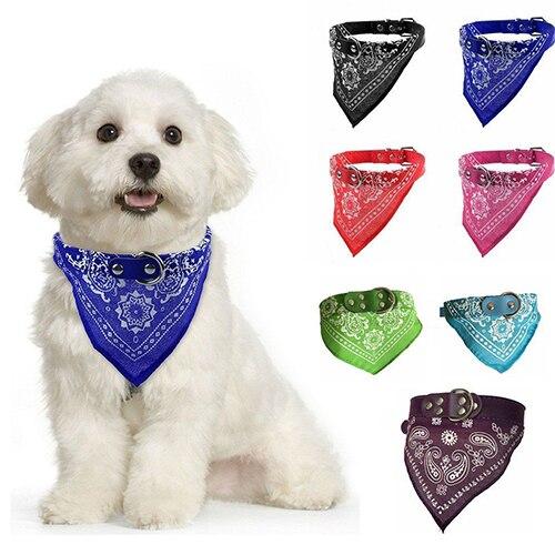 Adjustable Dog Bandana Neck Scarf Pet Dog Puppy Cat Neck Scarf Bandana Faux Leather Collar Neckerchief