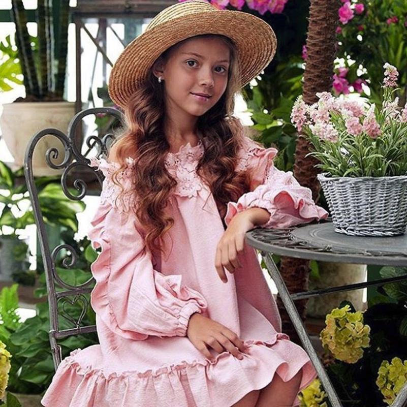 61eaa5763f1 TELOTUNY 2018 Дети для маленьких девочек с открытыми плечами кружевное  праздничное платье принцессы Одежда для девочек