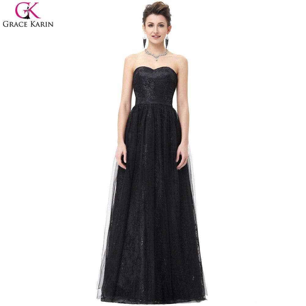 Prom Dresses Grace Karin Tulle Ball Gown Cheap Long Black ...