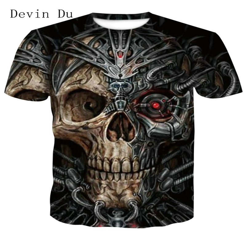 2018 new skull 3D T Shirt Summer Mens Fashion Tops Male Print harajuku wolf Men Women