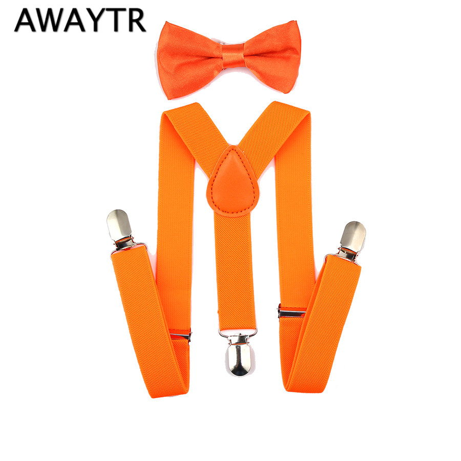 AWAYTR Kids Suspenders Set Boys Girls Yellow Orange Green Color Bow Tie Elastic Suspender Sets For Wedding Party Gift