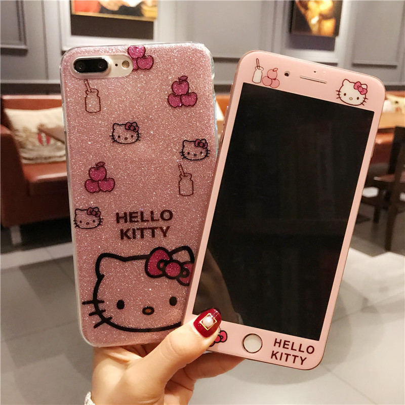 Para el iPhone 8 8 más gatito caso + película de pantalla de vidrio templado, bling de la historieta Hello Kitty TPU para iPhone 6 6 s 6 SPlus 7 7 más