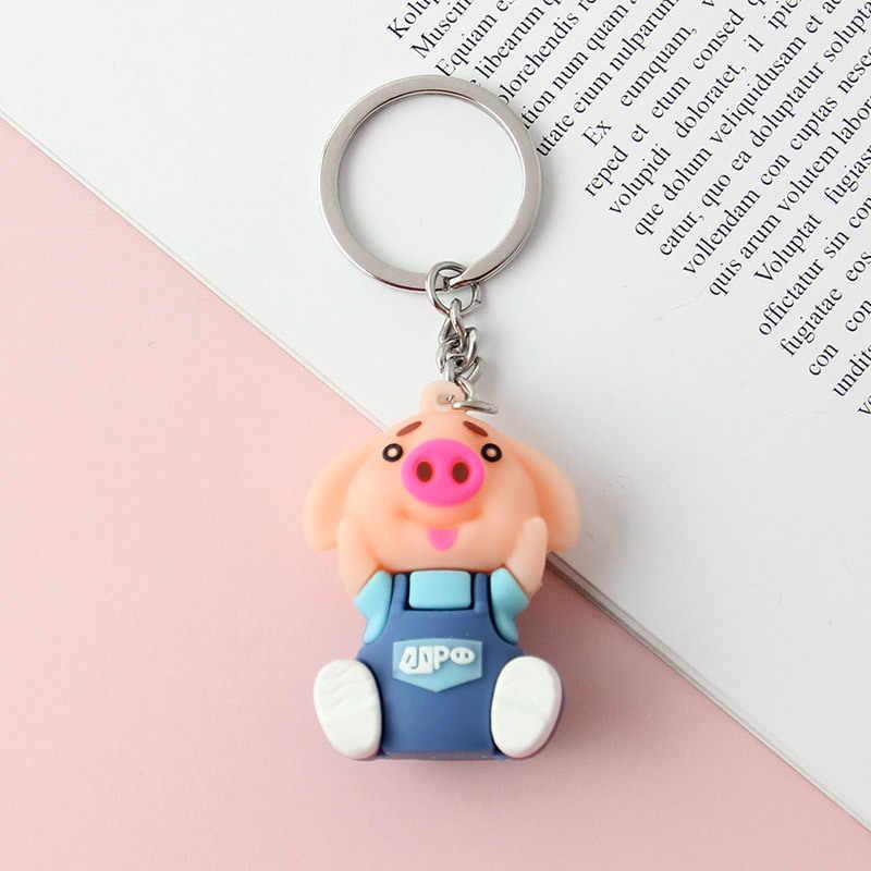 2019 Azul Bonito Dos Desenhos Animados Piggy Boneca Chaveiro Criativo Simples Pingente Para Bolsa Feminina Acessórios de Jóias Cadeia Chaves Do Carro Chave