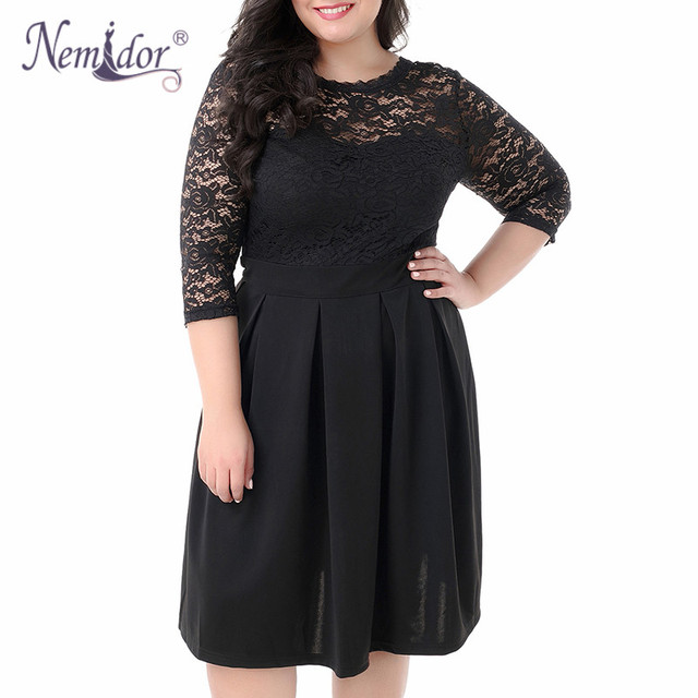 Women Vintage 3/4 Sleeve Casual Lace Top Overlay A-line Dress O-neck Plus Size 8XL 9XL V-low Back Party Midi Swing Dress 1