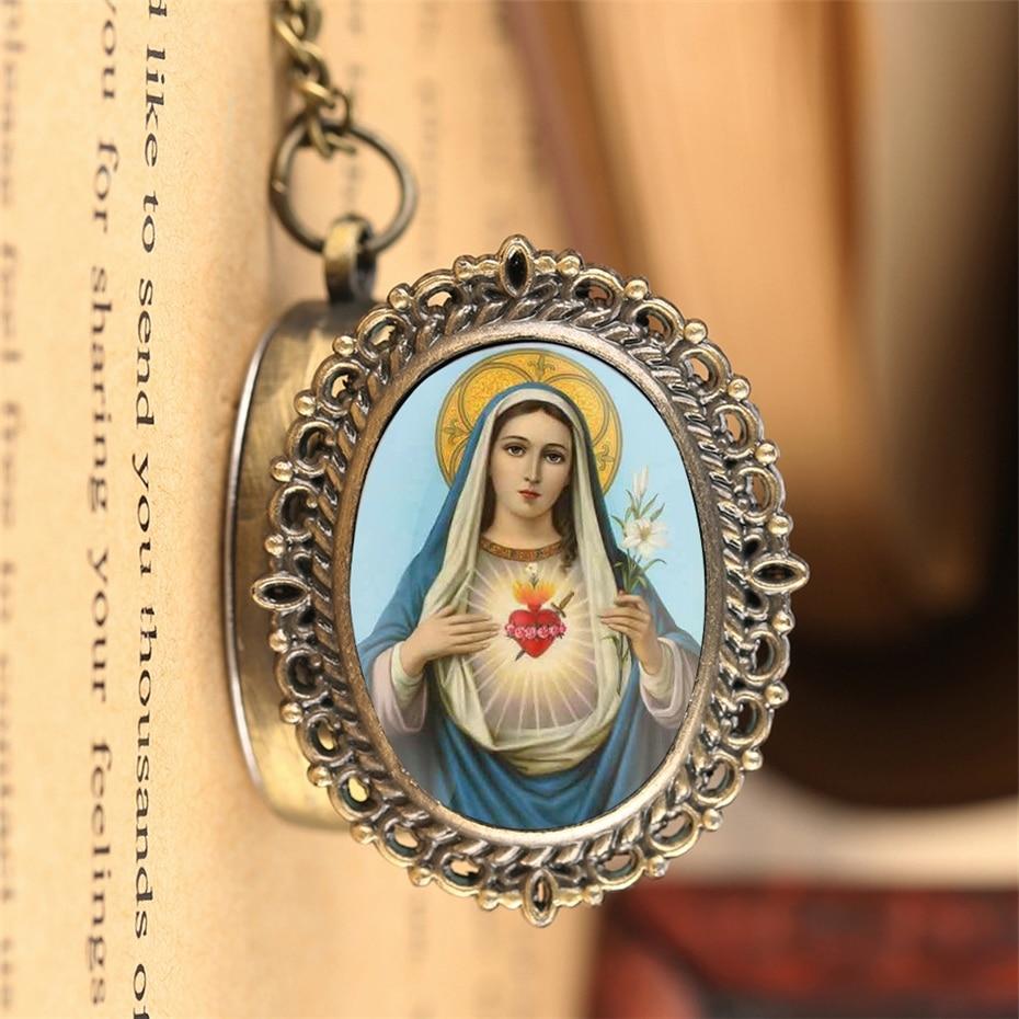 Classic Catholic Quartz Pocket Watch Blessed Virgin Mary Pattern Vintage Necklace Pendant Clock Gifts Men Women Souvenir Watch