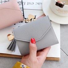 цена на New Design High Quality Fashion Brand Leather Women Wallets Short Thin ladies coin Purse Cards Holder Clutch bag tassel Wallet f