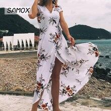JSMY 2019 New Summer Fashion Women Printing Chiffon Sexy Split Beach Style Resort Dress