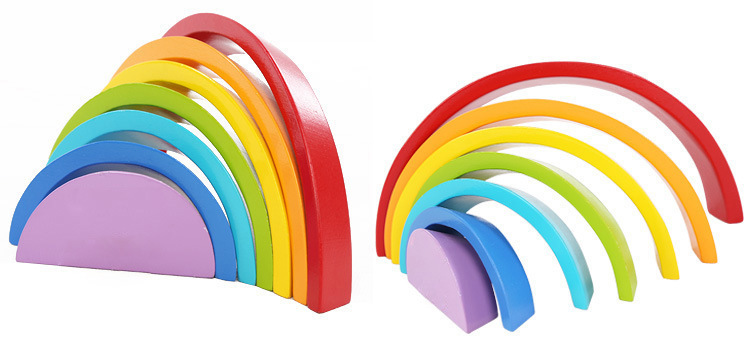 Wooden block rainbow kids children building blocks wooden toys baby early learning montessori educational