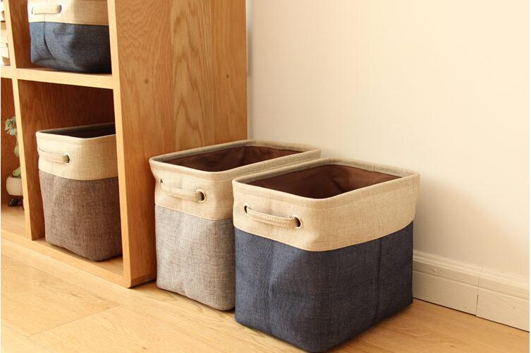 Foldable Linen Cotton Storage Basket Japanese Style Dirty Clothes Storage Laundry Basket Sundries Organizer Toy Home Storage Box
