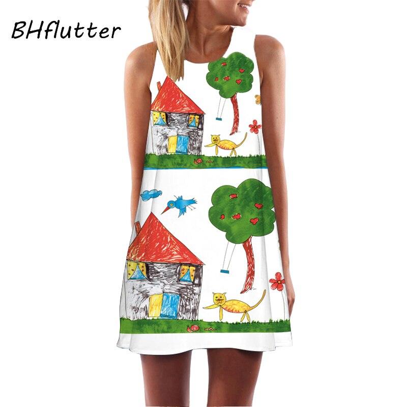 BHflutter 2018 Dress Women Chiffon Dress Flowers Print Brief Casual Shift Dress Sleeveless O Neck Summer Dresses Robe Femme Ete