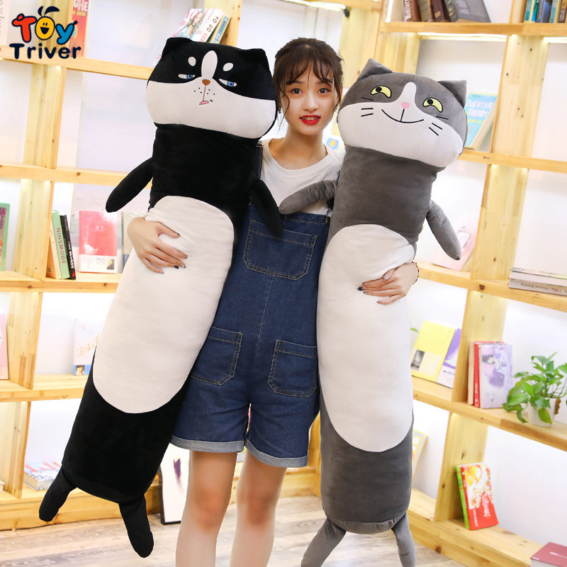 Plush Cat Dog Husky Toy Doll Boyfriend Long Pillow Cushion Stuffed Bolster Gift Home Decor Triver