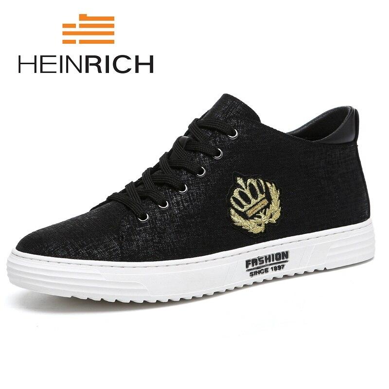 blanc automne Chaussures Occasionnels Printemps 2018 Marque Nouvelle Toile Hommes Mode Heinrich Confortable Aider Plat Noir Marée wZq7BW