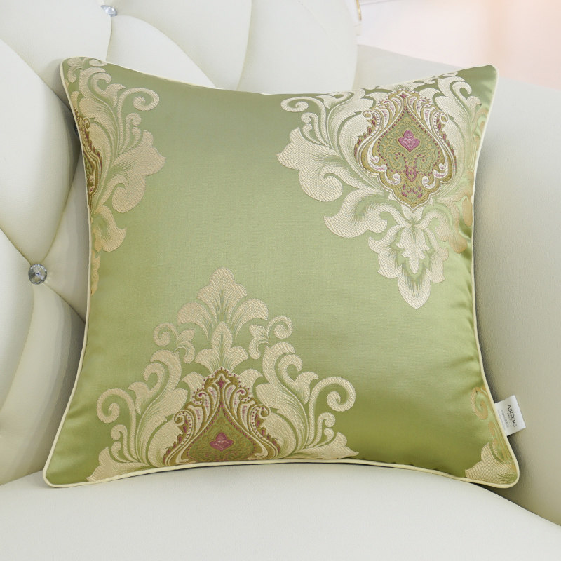 Avigers Luxury European Cushion Cover Silky Cotton Jacquard Pillow Cover Floral Pillow Case Home Decorative Sofa Throw Pillow