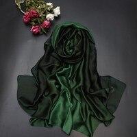 Новое поступление летних модные шелковые шарфы градиентные цвета жоржет женские шелковые шарфы пашмины обертывание