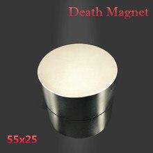 Neodimyum mıknatıs 55x25 N52 nadir toprak süper güçlü güçlü yuvarlak kaynak arama kalıcı manyetik 55*25mm galyum metal disk