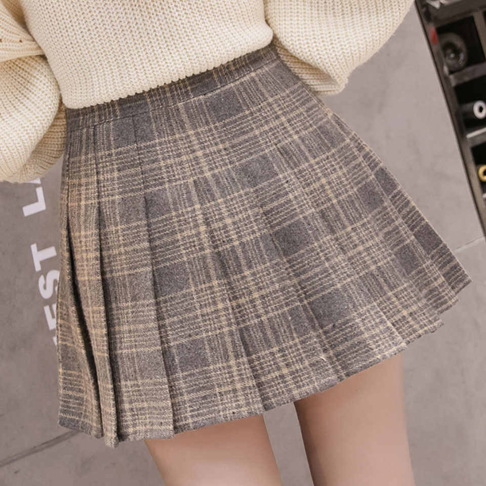 1112ce18d6 ... Autumn Winter Women Pleated Skirts 2019 Vintage High Waist Skirt Female  Korean Preppy Style Plaid Skirt ...