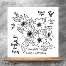 ZhuoAng Flowers Greetings Transparent Clear Stamps DIY Scrapbooking Album Card Making Decoration Embossing Stencil