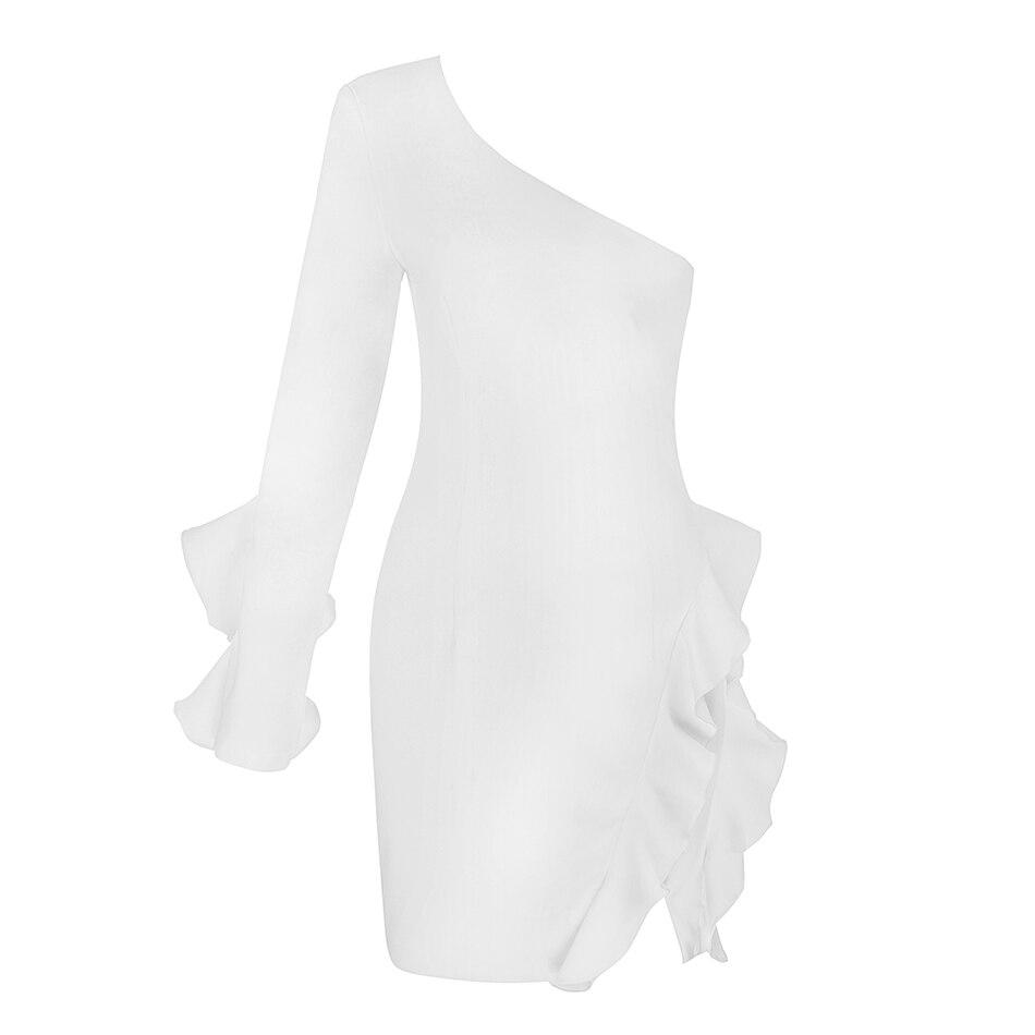 Increspato Pezzo Partito Sexy Nuovi Donne Del One Maniche Scaffali Elegante spalla Vestito Signore Bianco Da Delle A Abiti 2018 One Lunghe PxOqwgHq