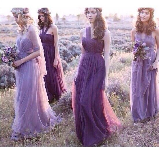 fb11d7bc9186 Vestidos De Novia Pastel Mismatched Purple And Lavender Bridesmaid Dresses  Vintage Vestido De Festa Longo Beautiful Plus Size