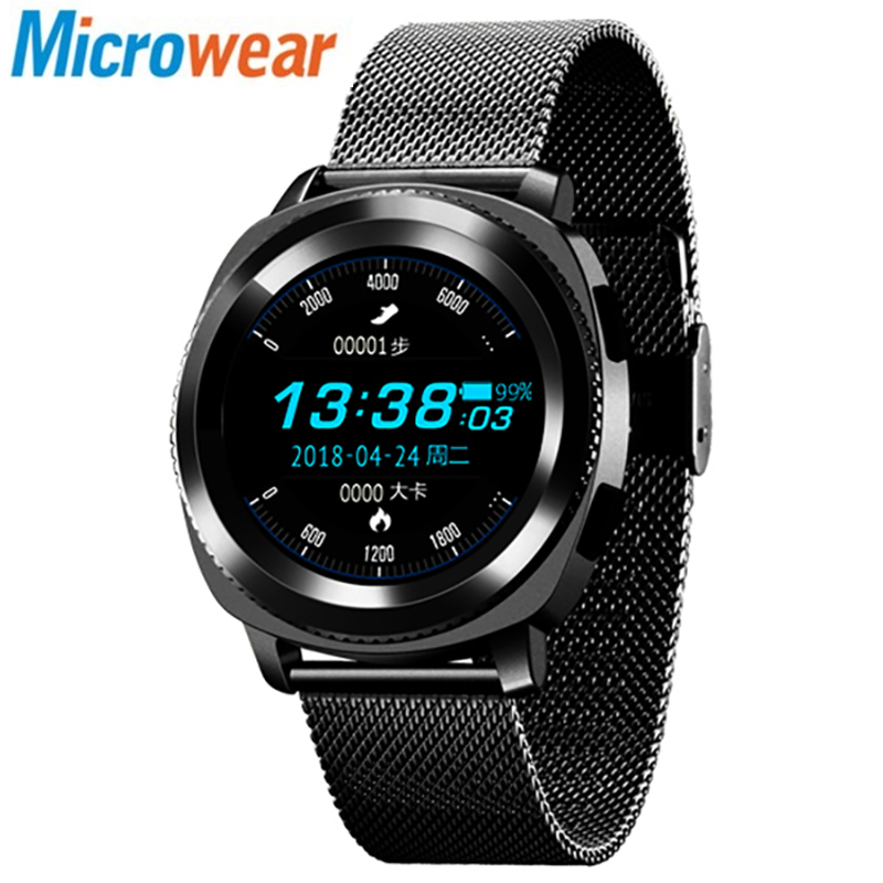 Original Microwear L2 Waterproof Smartwatch with Steel Band Heart Rate / Sleep Monitor / Step Counting Function Smartwatch