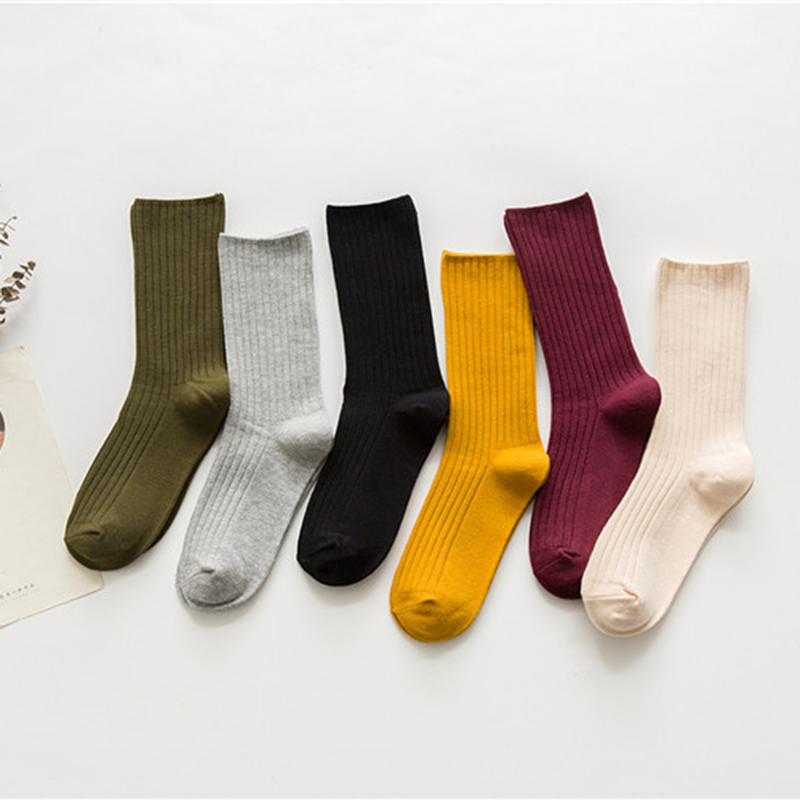 2017 New Arrive Harajuku Retro Women Cotton Loose Socks for Autumn Winter  Pure Color Yellow Designer Christmas Cute