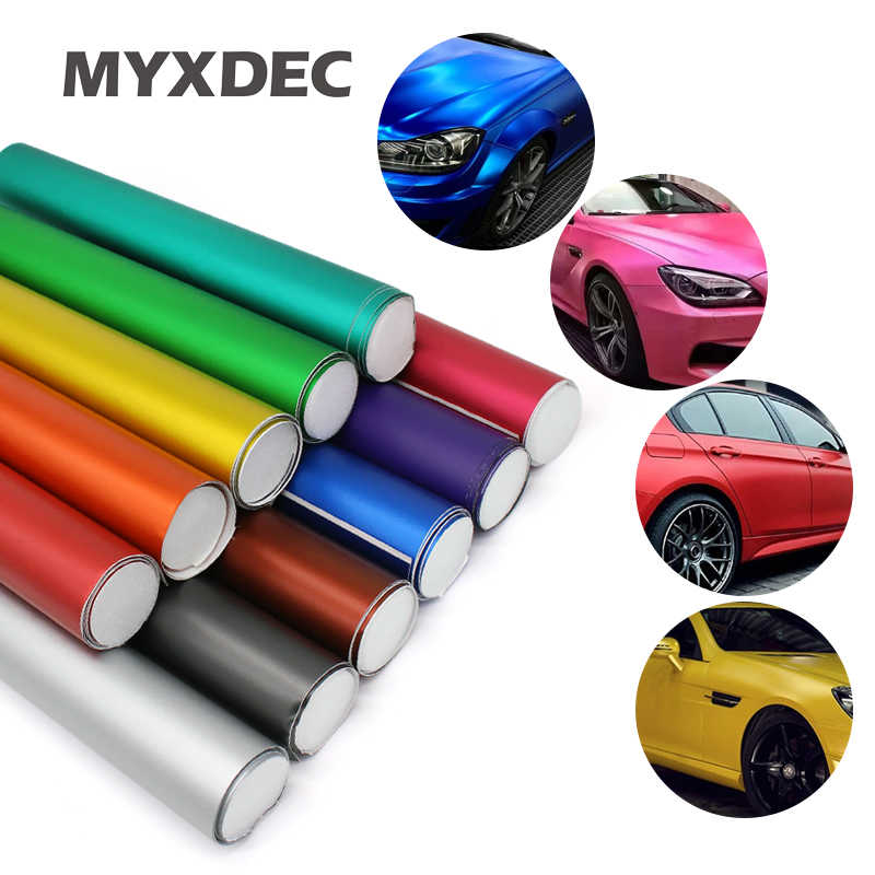 Hot 152*30CM Polymeric PVC Matte Chrome Vinyl Car Wraps Sticker Color Changing Motorcycle Sticker With Air Bubble Car Decoration