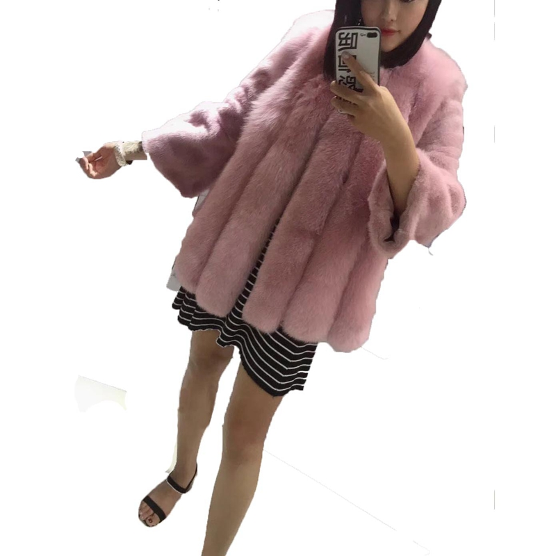 Women Natural Fox Fur Coat With Mink Fur Sleeve 2018 New Fashion Genuine Luxury Fox Fur Outwear Winter Warm Think Lady Clothing