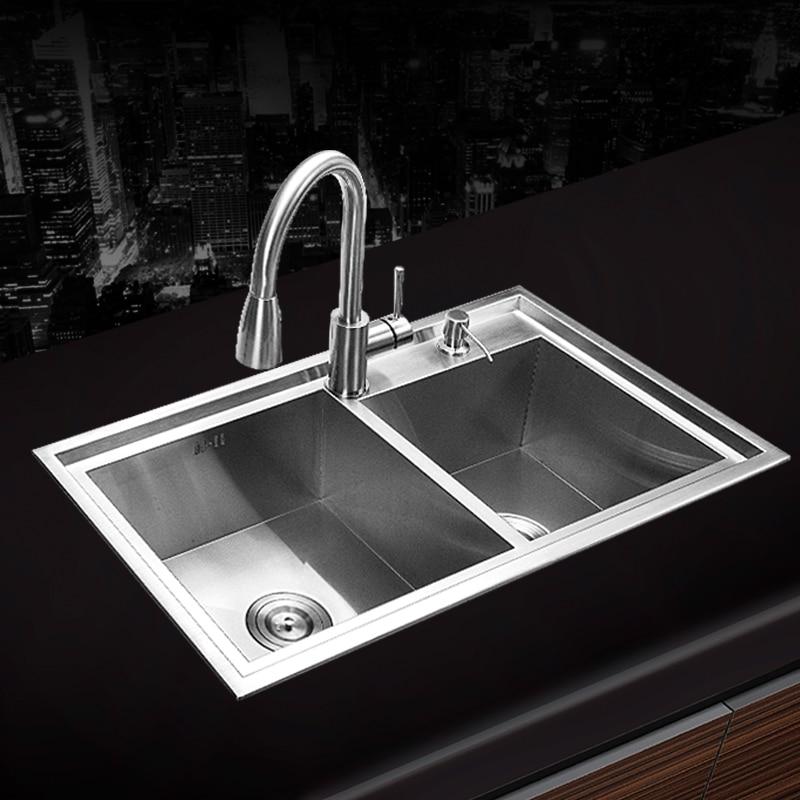780 430 220mm 304 Stainless Steel Undermount Hand Made Kitchen Sink