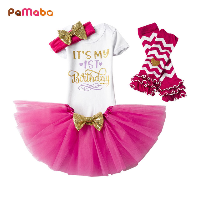 PaMaBa 4Pcs Newborn Baby Girls Fancy 1st Birthday Outfit with Headband and  Gloves Toddler Infant Soft Princess Dress Clothes Set 57f40030e595