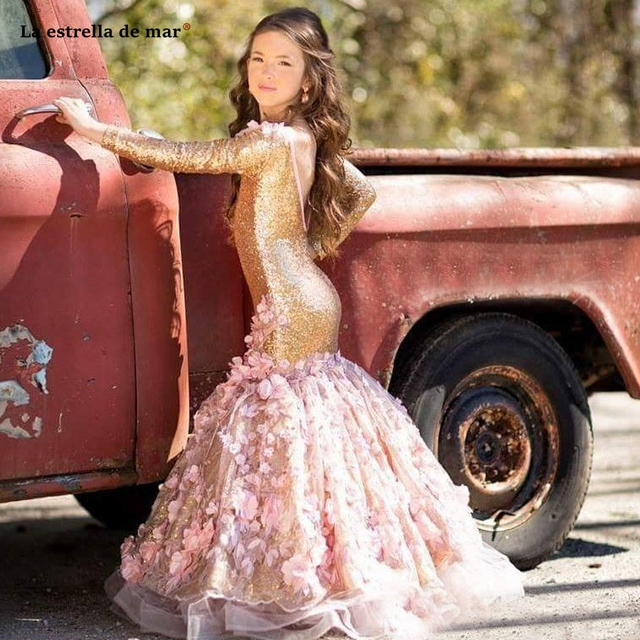 La estrella de mar flower girl dresses new O neck back open long sleeve sexy mermaid gold sequins pageant dresses for girls