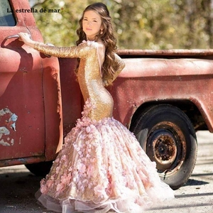 Image 1 - ラエストレラ · マルフラワーガールドレス新 o ネックバックオープン長袖セクシーなマーメイドゴールドスパンコールページェントドレス女の子のため