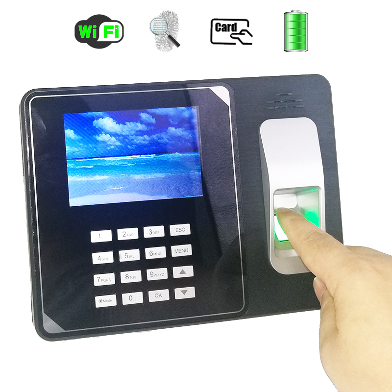 WIFI Fingerprint Time Attendance With 125khz Rfid Reader Employee Electronic Attendance With Build In Back Up Battery