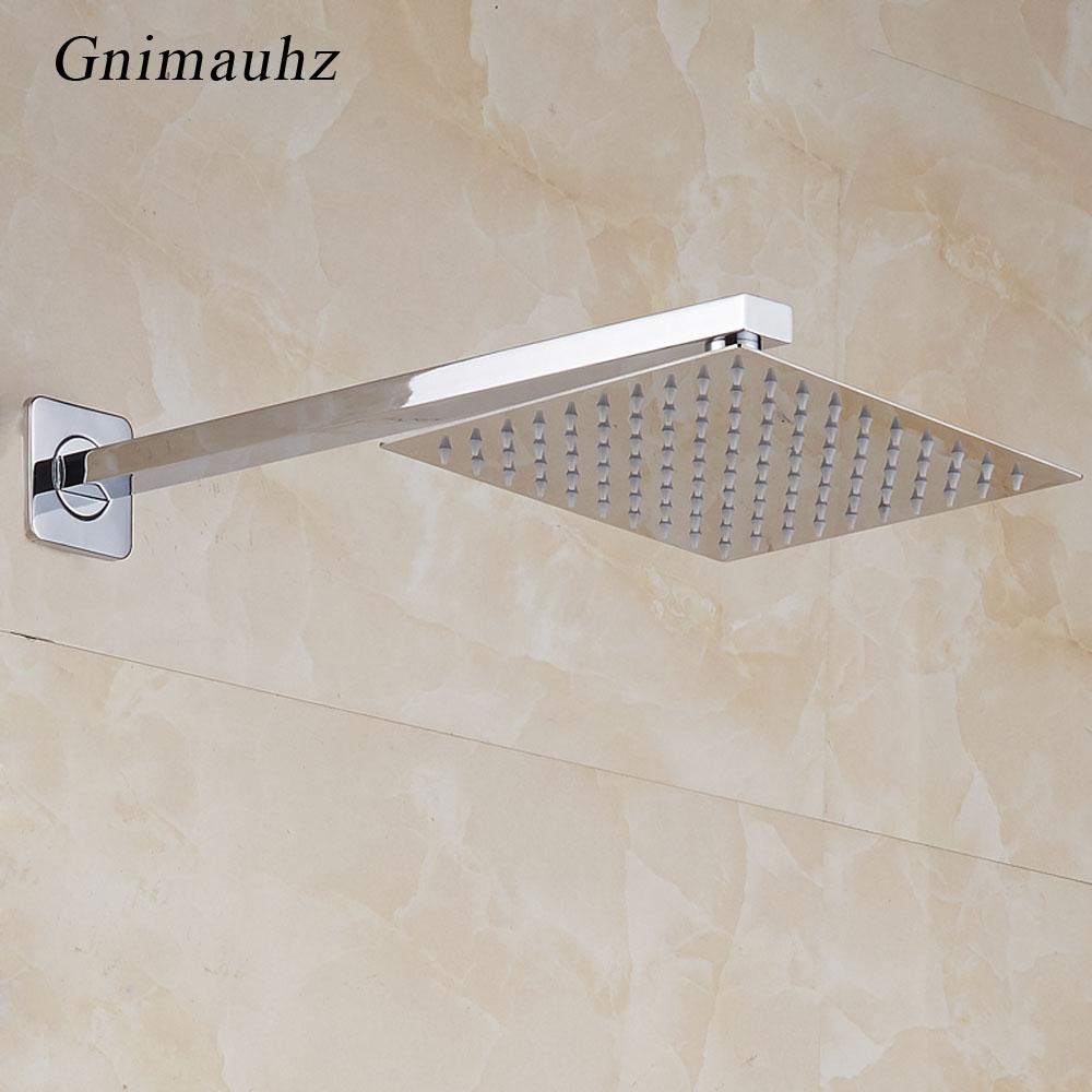 35/41CM Length Free Shipping Chrome Brass Wall Mounted Shower Mounting Brackets Bathroom Faucet Copper Square Shower Pipe Arm
