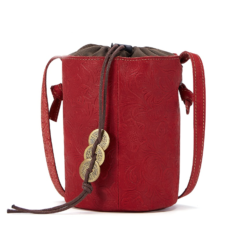 New women handbags bucket bag genuine leather vintage lady luxury shoulder bag tote brand unique design mini messenger bags new vintage luxury brand design 100