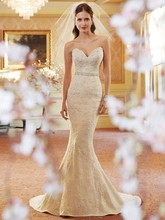 Free Shipping Charming Mermaid Sweetheart Neckline Lace Up Sweep Train German Wedding Dresses With Heavy Appliques