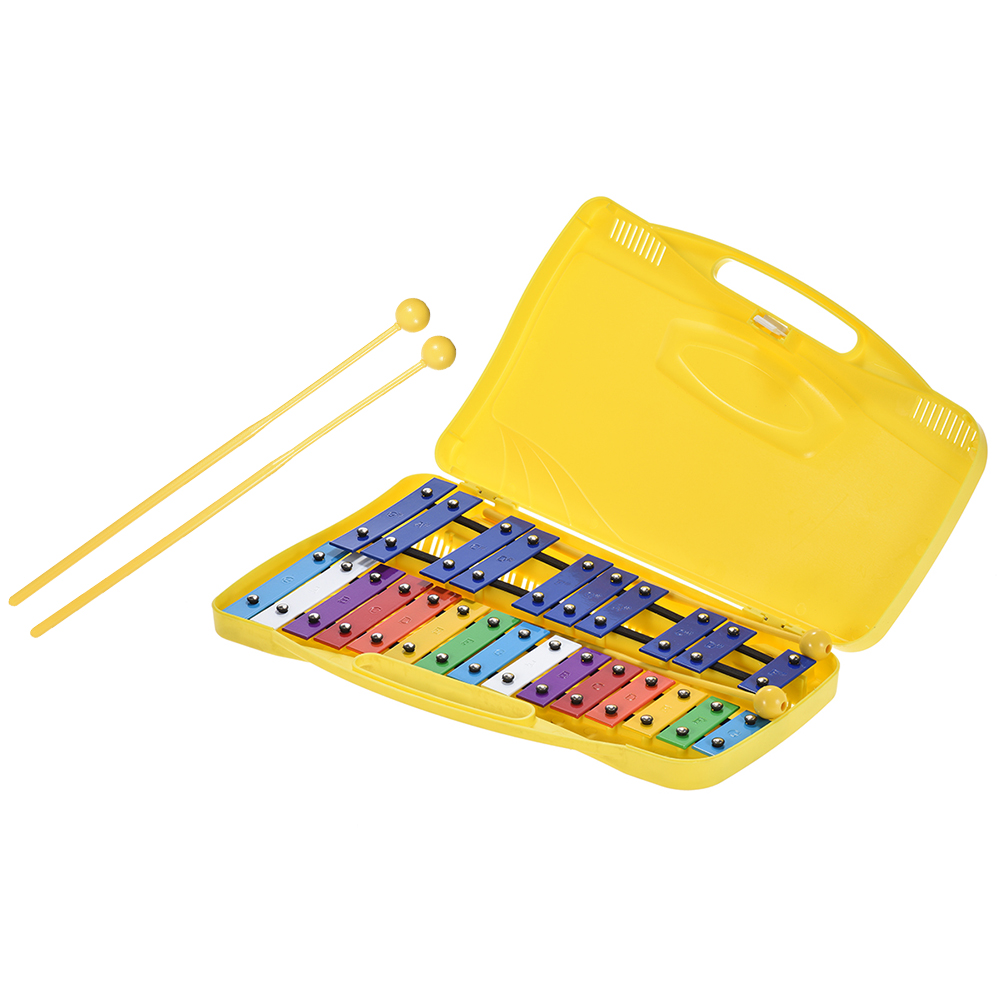 Colorful 25 Notes Glockenspiel Xylophone Percussion Rhythm Educational Instrument Musical Toy Handheld Case For Baby Kids
