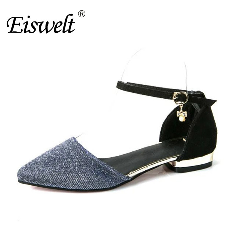 EISWELT Women Shoes Sandals Summer Pointed Casual Flats Slip On Shoes Flock Woman Casual Pointed Toe Sandals Shoes#ZJF28