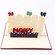 100pcs 3D Cards Handmade Pop Up Greeting Card Happy Birthday Handcrafted Kirigami Origami Gifts